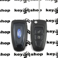 Корпус выкидного ключа для FORD (Форд) Fiesta, Focus, C-Max, Mondeo, Galaxy, Transit, 2 кнопки, лезвие HU101