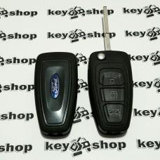 Корпус выкидного ключа для FORD (Форд) Fiesta, Focus, C-Max, Mondeo, Galaxy, Transit, 3 кнопки, лезвие HU101
