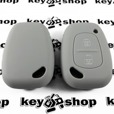 Чехол (серый, силиконовый) для авто ключа RENAULT (Рено) 2 кнопки