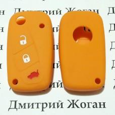 Чехол (желтый, силиконовый) для выкидного ключа Fiat (Фиат) 3 кнопки