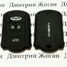 Чехол (черный, силиконовый) для смарт ключа CHERY (Чери) 3 кнопки
