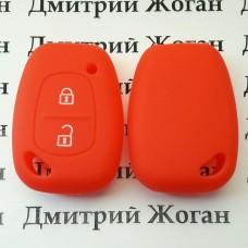 Чехол (красный, силиконовый) для авто ключа Nissan (Ниссан) 2 кнопки
