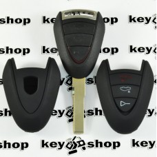 Чехол (черный, силиконовый) для авто ключа Porsche (Порше) 3 кнопки