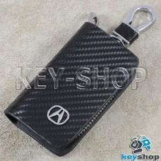 Ключница карманная (кожаная, черная, с тиснением под карбон, на молнии, с карабином, c кольцом), логотип авто Acura (Акура)