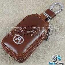 Ключница карманная (кожаная, коричневая, с карабином, на молнии, с кольцом), логотип авто Acura (Акура)