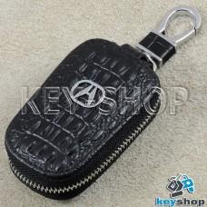 Ключница карманная (кожаная, черная, с тиснением, с карабином, с кольцом), логотип авто Acura (Акура)