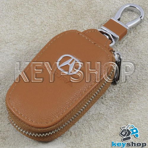 Ключница карманная (кожаная, светло - коричневая, с карабином, на молнии, с кольцом), логотип авто Acura (Акура)