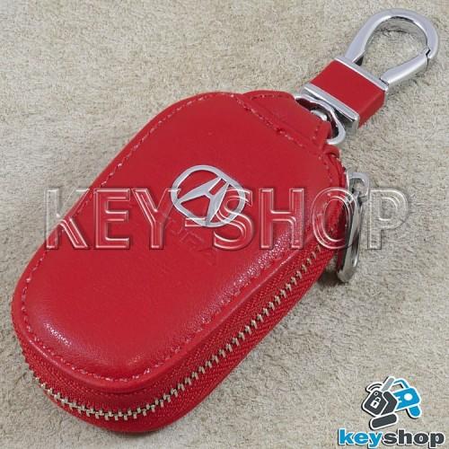Ключница карманная (кожаная, красная, с карабином, на молнии, с кольцом), логотип авто Acura (Акура)