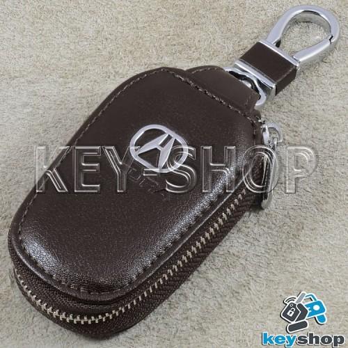 Ключница карманная (кожаная, темно - коричневая, с карабином, на молнии, с кольцом), логотип авто Acura (Акура)