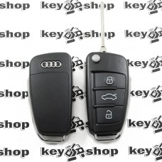 Корпус выкидного авто ключа для Audi A1, A3, A4, Q3 (Ауди A1, A3, A4, Q3) 3 кнопки, лезвие HU66