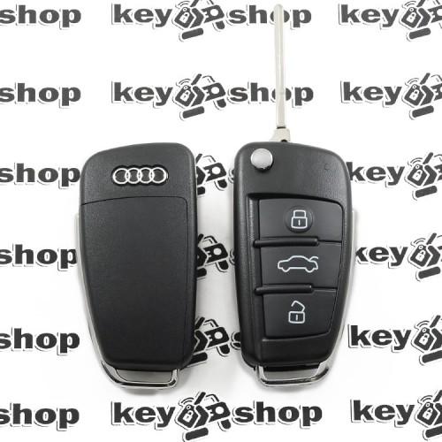 Корпус выкидного авто ключа для Audi A1, A3, A4, Q3 (Ауди A1, A3, A4, Q3) 3 кнопки