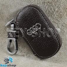 Ключница карманная (кожаная, коричневая, на молнии, с карабином, с кольцом), логотип авто Audi (Ауди)
