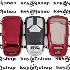 Чехол (красный, полиуретановый) для смарт ключа Audi (Ауди), кнопки с защитой