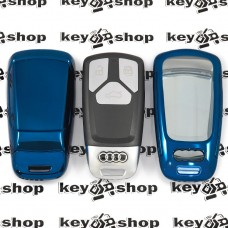 Чехол (синий, полиуретановый) для смарт ключа Audi (Ауди), кнопки с защитой
