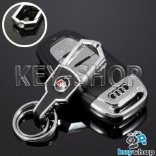 Металлический брелок для авто ключей Ауди С (Audi S) с карабином и и кожаной вставкой