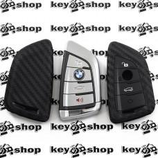 Чехол (силиконовый, под карбон) для смарт ключа BMW (БМВ) 3 кнопки