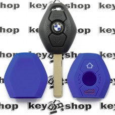 Чехол (синий, силиконовый) для авто ключа BMW (БМВ) 3 кнопки