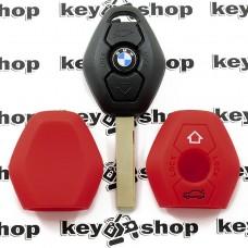 Чехол (красный, силиконовый) для авто ключа BMW (БМВ) 3 кнопки