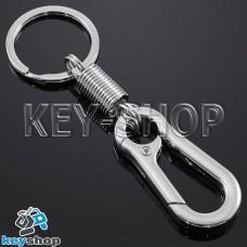 Металлический (хромированный) карабин для ключей, с пружиной, кольцом