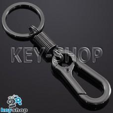 Металлический (темный хром) карабин для ключей, с пружиной, кольцом
