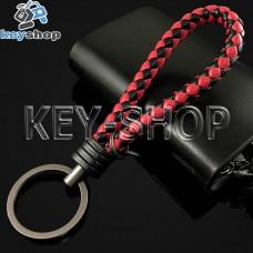 Красно - черный брелок с кожаным плетёным шнуром и кольцом в темном хроме