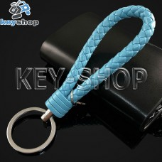 Голубой брелок с кожаным плетёным шнуром и никелированым кольцом