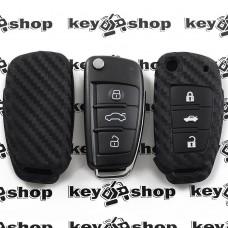 Чехол (cиликоновый, под карбон) для выкидного ключа CHERY (Чери) 3 кнопки