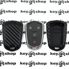 Чехол (силиконовый, под карбон) для смарт ключа Cadillac (Кадиллак)