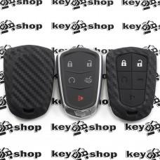 Чехол (силиконовый, под карбон) для смарт ключа Cadillac (Кадиллак) 4+1 кнопки