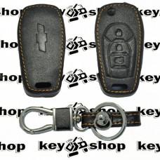 Чехол (кожаный) для выкидного ключа Chevrolet (Шевролет) 3 кнопки