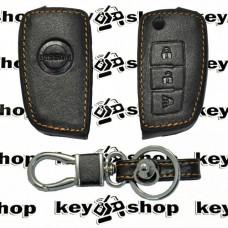 Чехол (кожаный) для выкидного ключа Nissan (Ниссан) 3 кнопки
