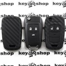 Чехол (силиконовый, под карбон) для выкидного ключа Chevrolet (Шевролет) 3 кнопки