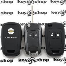 Чехол (черный, силиконовый) для выкидного ключа Chevrolet (Шевроле) 2 кнопки