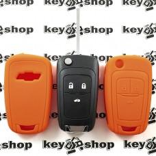 Чехол (оранжевый, силиконовый) для выкидного ключа Chevrolet (Шевроле) 3 кнопки