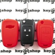 Чехол (красный, силиконовый) для выкидного ключа Chevrolet (Шевроле) 3 кнопки