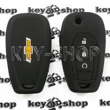 Чехол (черный, силиконовый) для выкидного ключа Chevrolet (Шевролет) 3 кнопки