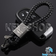 Кожаный плетеный (черный) брелок для авто ключей  Chrysler (Крайслер)