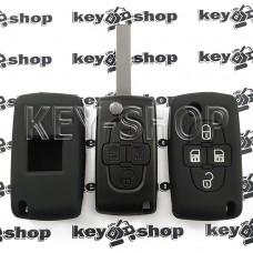 Чехол (черный, силиконовый) для выкидного ключа Citroen (Ситроен) 4 кнопки