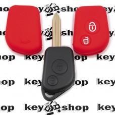 Чехол (красный, силиконовый) для авто ключа Citroen (Ситроен) 2 кнопки
