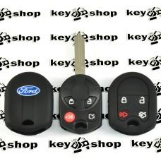 Чехол (черный, силиконовый) для авто ключа Ford (Форд) 4 кнопки