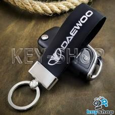 Брелок для авто ключей Daewoo (Дэу)  кожаный (черный, широкий) с хромированной фурнитурой