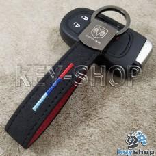 Кожаный замшевый (черный) брелок для авто ключей с логотипом Dodge (Додж) и хромированным карабином