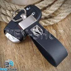 Брелок для авто ключей Dodge (Додж) кожаный (черный, широкий) с хромированной фурнитурой
