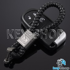 Кожаный плетеный (черный) брелок для авто ключей Dodge (Додж)