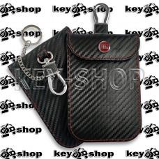 Чехол Фарадея, антисканер, противоугонный чехол Fiat (Фиат) (кожаный, под карбон, черный, на липучке, с карабином, с кольцом)