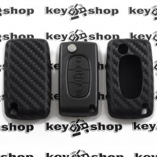 Чехол (силиконовый, под карбон) для выкидного ключа Fiat (Фиат)
