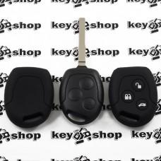 Чехол (черный, силиконовый) для авто ключа Ford (Форд) 3 кнопки