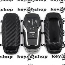 Чехол (cиликоновый, под карбон) для смарт ключа Ford (Форд)