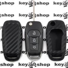 Чехол (cиликоновый, под карбон) для выкидного ключа Ford (Форд)
