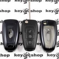 Чехол (черный, полиуретановый) для выкидного ключа Ford (Форд), кнопки с защитой
